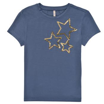 vaatteet Tytöt Lyhythihainen t-paita Only KONMOULINS STAR Sininen