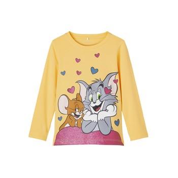 vaatteet Tytöt T-paidat pitkillä hihoilla Name it TOM&JERRY Keltainen
