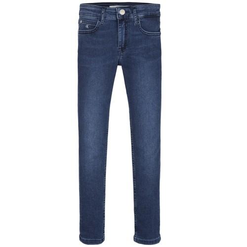 vaatteet Tytöt Skinny-farkut Calvin Klein Jeans SKINNY ESS ROYAL BLUE Sininen