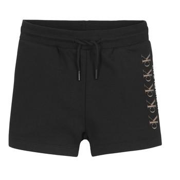 vaatteet Tytöt Shortsit / Bermuda-shortsit Calvin Klein Jeans CK REPEAT FOIL KNIT SHORTS Musta