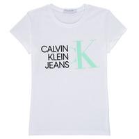 vaatteet Tytöt Lyhythihainen t-paita Calvin Klein Jeans HYBRID LOGO SLIM T-SHIRT Valkoinen