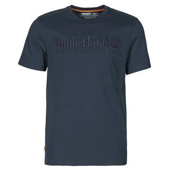vaatteet Miehet Lyhythihainen t-paita Timberland SS OUTDOOR HERITAGE LINEAR LOGO TEE REGULAR Laivastonsininen
