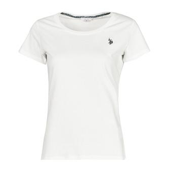 vaatteet Naiset Lyhythihainen t-paita U.S Polo Assn. BELLA R NECK TEE SS Valkoinen