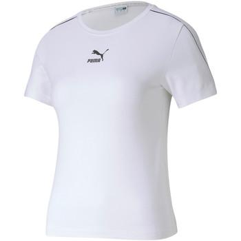 vaatteet Naiset Lyhythihainen t-paita Puma 595375 Valkoinen