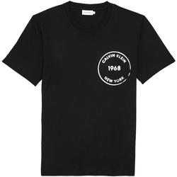 vaatteet Miehet Lyhythihainen t-paita Calvin Klein Jeans K10K104509 Musta