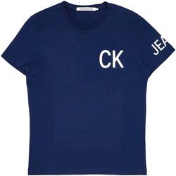 vaatteet Miehet Lyhythihainen t-paita Calvin Klein Jeans J30J312754 Sininen