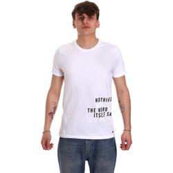 vaatteet Miehet Lyhythihainen t-paita Gaudi 011BU64071 Valkoinen