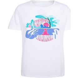 vaatteet Naiset Lyhythihainen t-paita Pepe jeans PL504452 Valkoinen