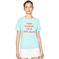 vaatteet Naiset Lyhythihainen t-paita Pepe jeans PL504463 Sininen