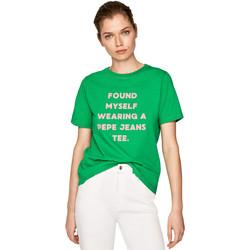 vaatteet Naiset Lyhythihainen t-paita Pepe jeans PL504463 Vihreä