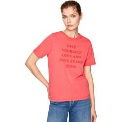 vaatteet Naiset Lyhythihainen t-paita Pepe jeans PL504463 Punainen