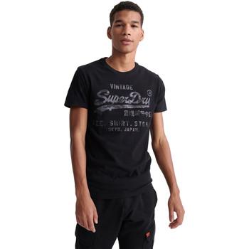 vaatteet Miehet Lyhythihainen t-paita Superdry M1010100A Musta