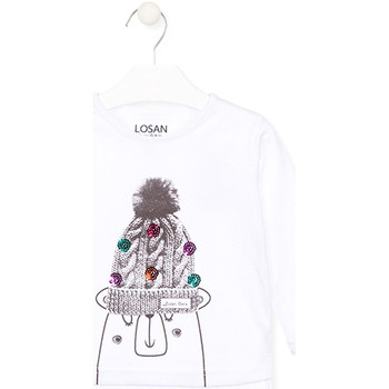 vaatteet Lapset T-paidat pitkillä hihoilla Losan 026-1007AL Valkoinen