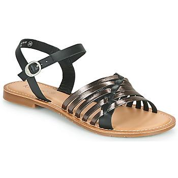 kengät Naiset Sandaalit ja avokkaat Kickers ETCETERA Musta / Hopea