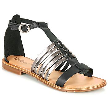 kengät Naiset Sandaalit ja avokkaat Kickers ETIKET Musta / Hopea