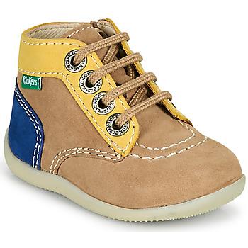 kengät Pojat Bootsit Kickers BONZIP-2 Beige / Keltainen / Laivastonsininen