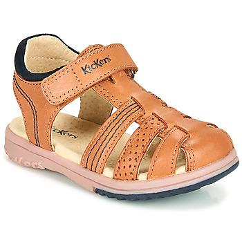 kengät Pojat Sandaalit ja avokkaat Kickers PLATINIUM Kamelinruskea