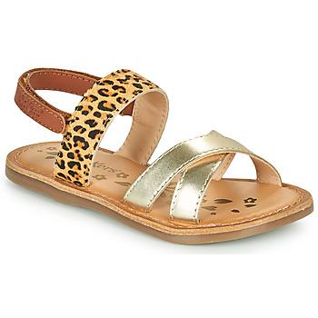 kengät Tytöt Sandaalit ja avokkaat Kickers DYACROSS Kulta / Leopardi