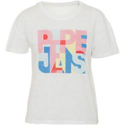 vaatteet Naiset Lyhythihainen t-paita Pepe jeans PL504439 Valkoinen