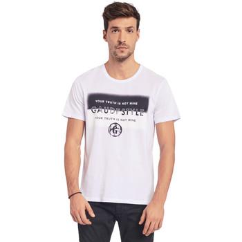 vaatteet Miehet Lyhythihainen t-paita Gaudi 011BU64108 Valkoinen