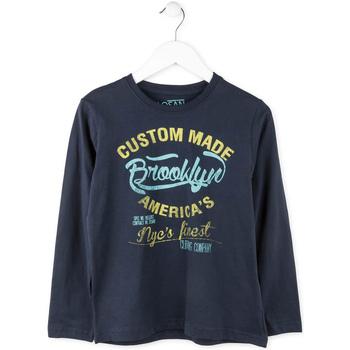 vaatteet Pojat T-paidat pitkillä hihoilla Losan 713 1202AA Sininen