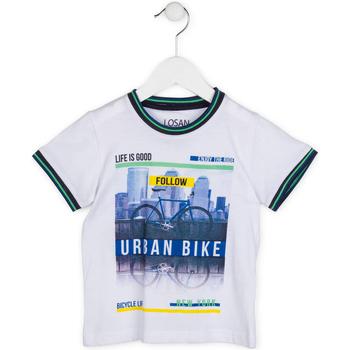 vaatteet Pojat Lyhythihainen t-paita Losan 715 1013AC Valkoinen