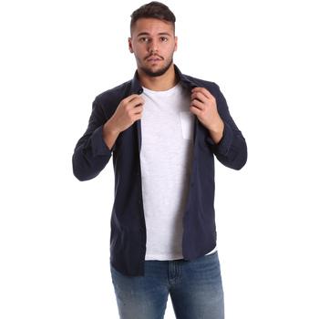 vaatteet Miehet Pitkähihainen paitapusero Antony Morato MMSL00408 FA400047 Sininen