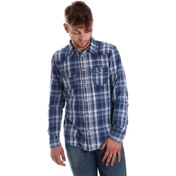 vaatteet Miehet Pitkähihainen paitapusero Gaudi 721BU46008 Sininen