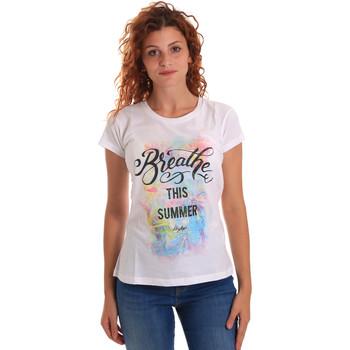 vaatteet Naiset Lyhythihainen t-paita Key Up 5D59S 0001 Valkoinen