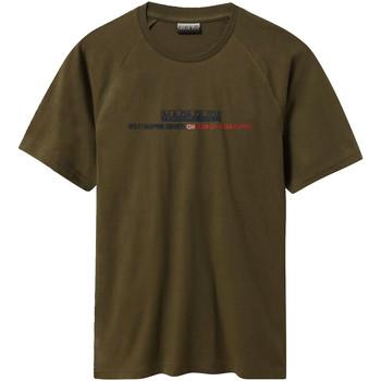 vaatteet Miehet Lyhythihainen t-paita Napapijri NP0A4E37 Vihreä