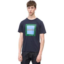 vaatteet Miehet Lyhythihainen t-paita Calvin Klein Jeans K10K102679 Sininen
