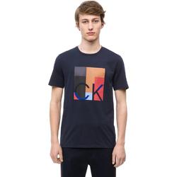 vaatteet Miehet Lyhythihainen t-paita Calvin Klein Jeans K10K102690 Sininen