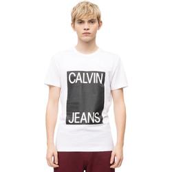 vaatteet Miehet Lyhythihainen t-paita Calvin Klein Jeans J30J309839 Valkoinen