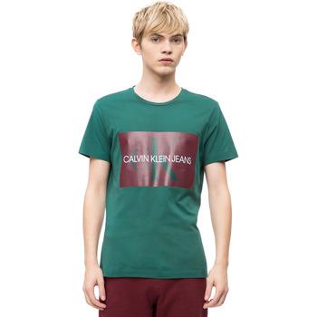 vaatteet Miehet Lyhythihainen t-paita Calvin Klein Jeans J30J307843 Vihreä