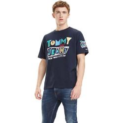 vaatteet Miehet Lyhythihainen t-paita Tommy Hilfiger DM0DM06086 Sininen