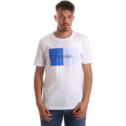 vaatteet Miehet Lyhythihainen t-paita Calvin Klein Jeans K10K103497 Valkoinen