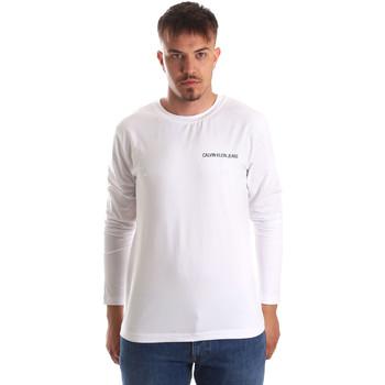vaatteet Miehet T-paidat pitkillä hihoilla Calvin Klein Jeans J30J310489 Valkoinen