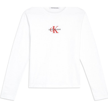 vaatteet Naiset T-paidat pitkillä hihoilla Calvin Klein Jeans J20J211804 Valkoinen
