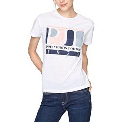 vaatteet Naiset Lyhythihainen t-paita Pepe jeans PL504149 Valkoinen
