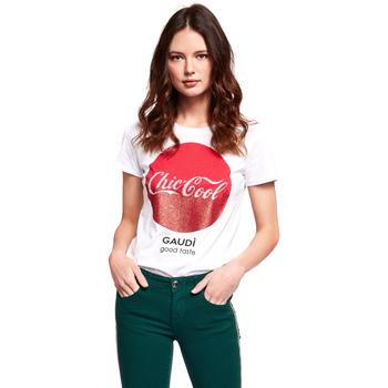 vaatteet Naiset Lyhythihainen t-paita Gaudi 921BD64047 Valkoinen