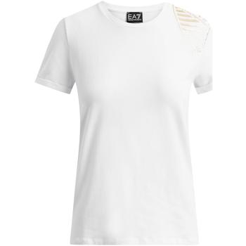 vaatteet Naiset Lyhythihainen t-paita Ea7 Emporio Armani 6GTT07 TJ12Z Valkoinen