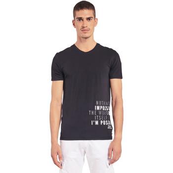 vaatteet Miehet Lyhythihainen t-paita Gaudi 011BU64071 Musta