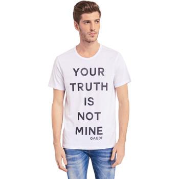 vaatteet Miehet Lyhythihainen t-paita Gaudi 011BU64107 Valkoinen