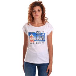 vaatteet Naiset Lyhythihainen t-paita Key Up 5D72S 0001 Valkoinen