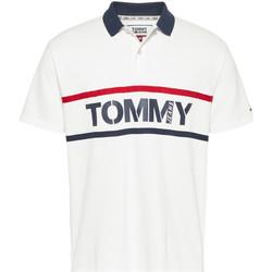 vaatteet Miehet Lyhythihainen poolopaita Tommy Jeans DM0DM07779 Valkoinen