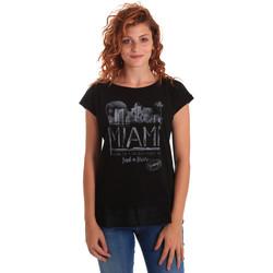vaatteet Naiset Lyhythihainen t-paita Key Up 5Z10S 0001 Musta