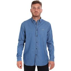 vaatteet Miehet Pitkähihainen paitapusero Les Copains 9U2361 Sininen