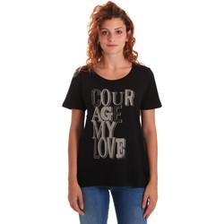 vaatteet Naiset Lyhythihainen t-paita Key Up 5Z19S 0001 Musta