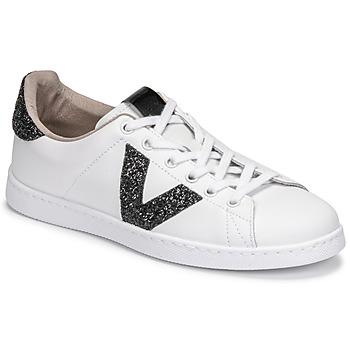 kengät Naiset Matalavartiset tennarit Victoria TENIS PIEL GLITTER Valkoinen / Musta