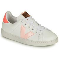 kengät Tytöt Matalavartiset tennarit Victoria TENIS VEGANA CONTRASTE Valkoinen / Vaaleanpunainen